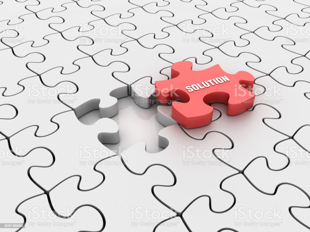 Puzzle Pieces with Solution Word - 3D Rendering stock photo