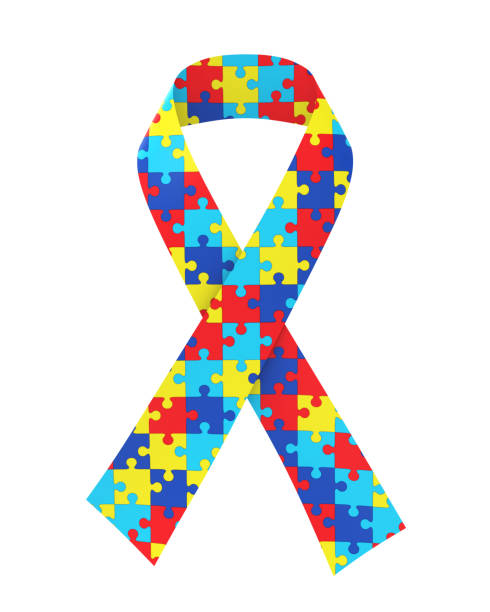 puzzle ribbon autism awareness isolated - autism stock photos and pictures