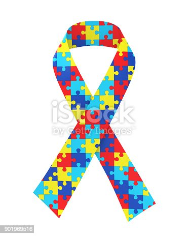 Puzzle Ribbon Autism Awareness Isolated Stock Photo More Pictures