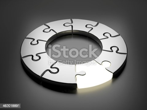 istock Puzzle ring 3D. Innovation concept 462018891