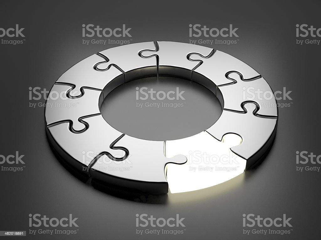 Puzzle ring 3D. Innovation concept stock photo