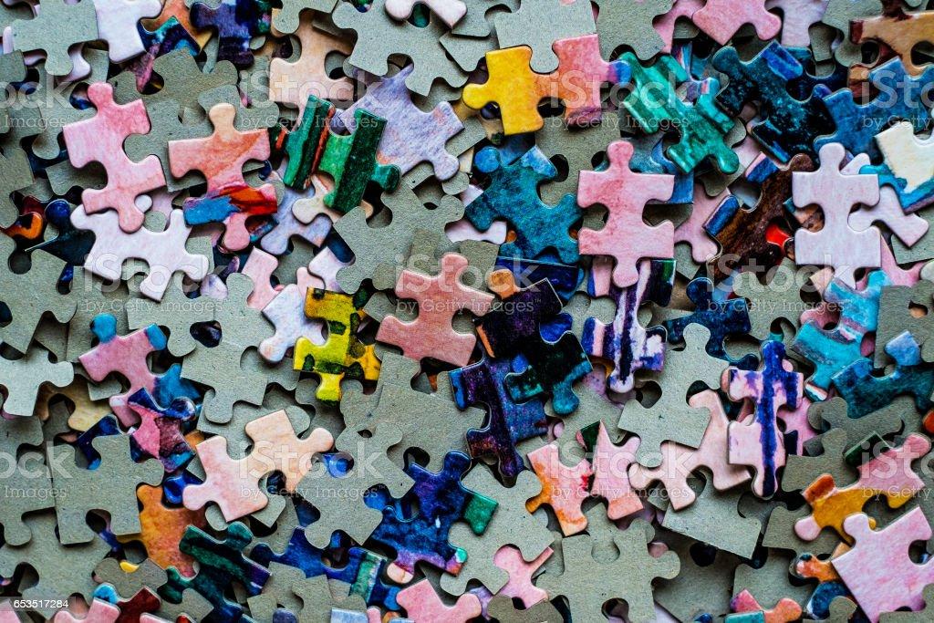 Puzzle set colored stock photo