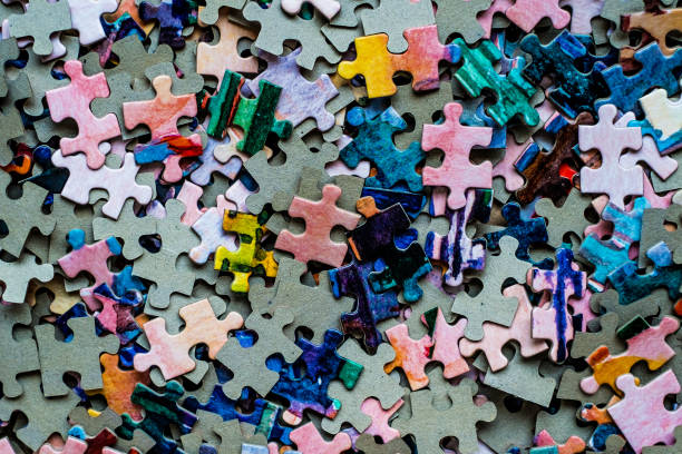 puzzle set colored - puzzle stock photos and pictures
