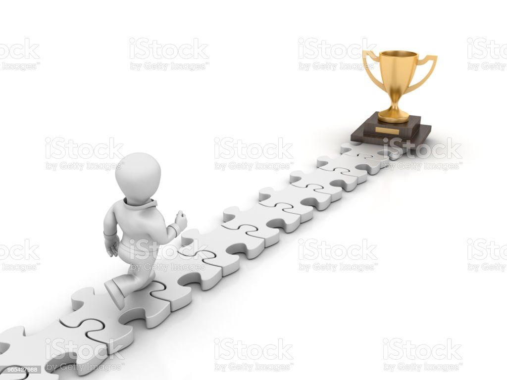 Puzzle with Business Character Running Toward Winner Trophy - 3D Rendering royalty-free stock photo