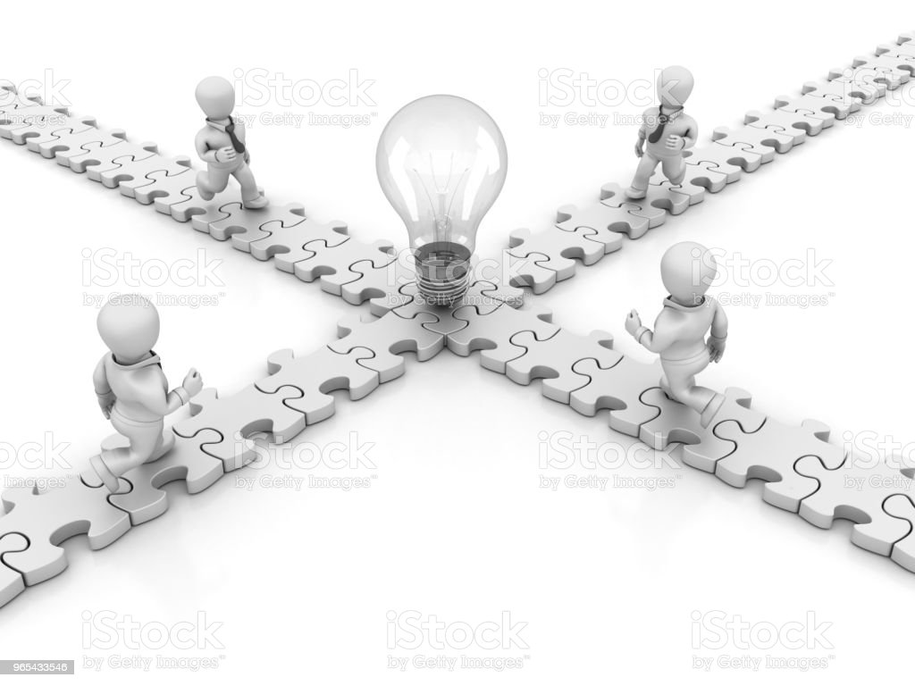 Puzzle with Business Characters Running Toward Light Bulb - 3D Rendering zbiór zdjęć royalty-free