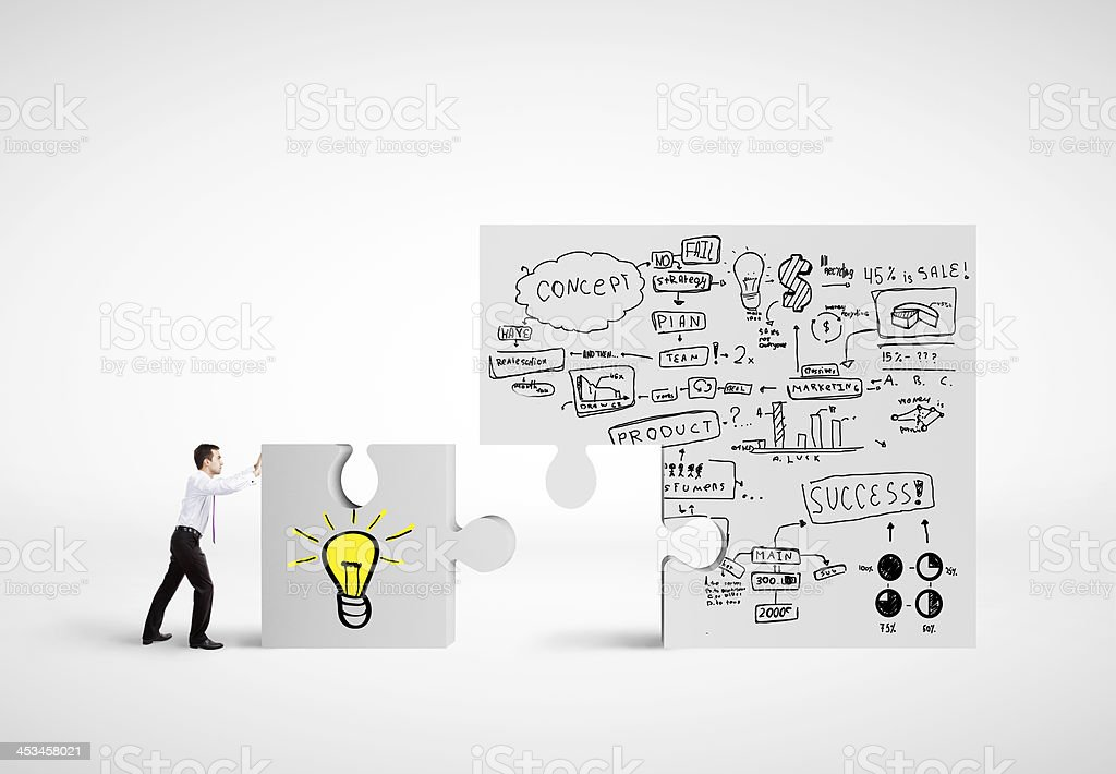 puzzle with business plan royalty-free stock photo