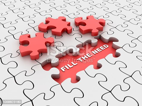 Puzzle with Fill the Need Words - 3D Rendering