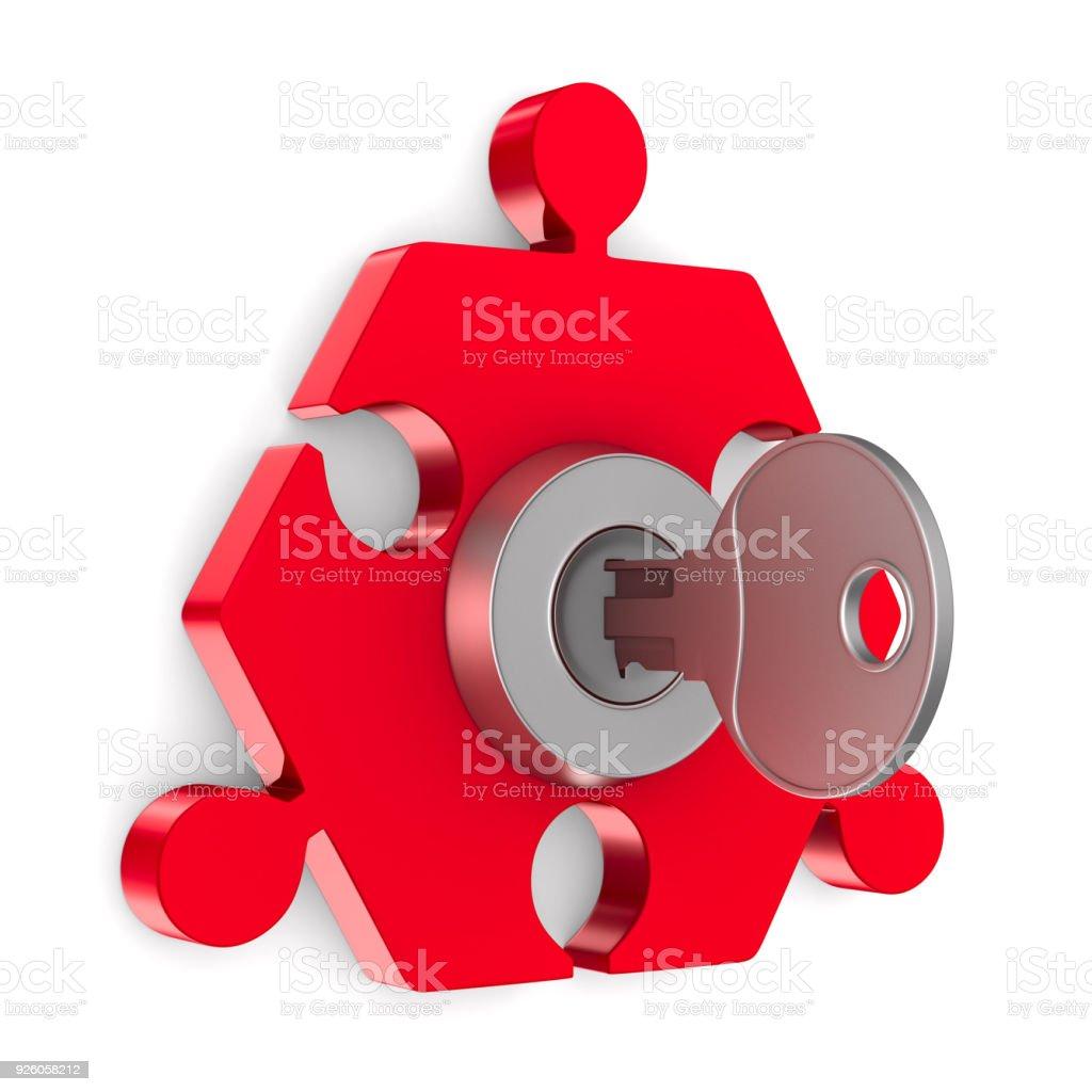 Puzzle mit Schlüssel auf weißem Hintergrund. Isolierte 3D-Illustration – Foto