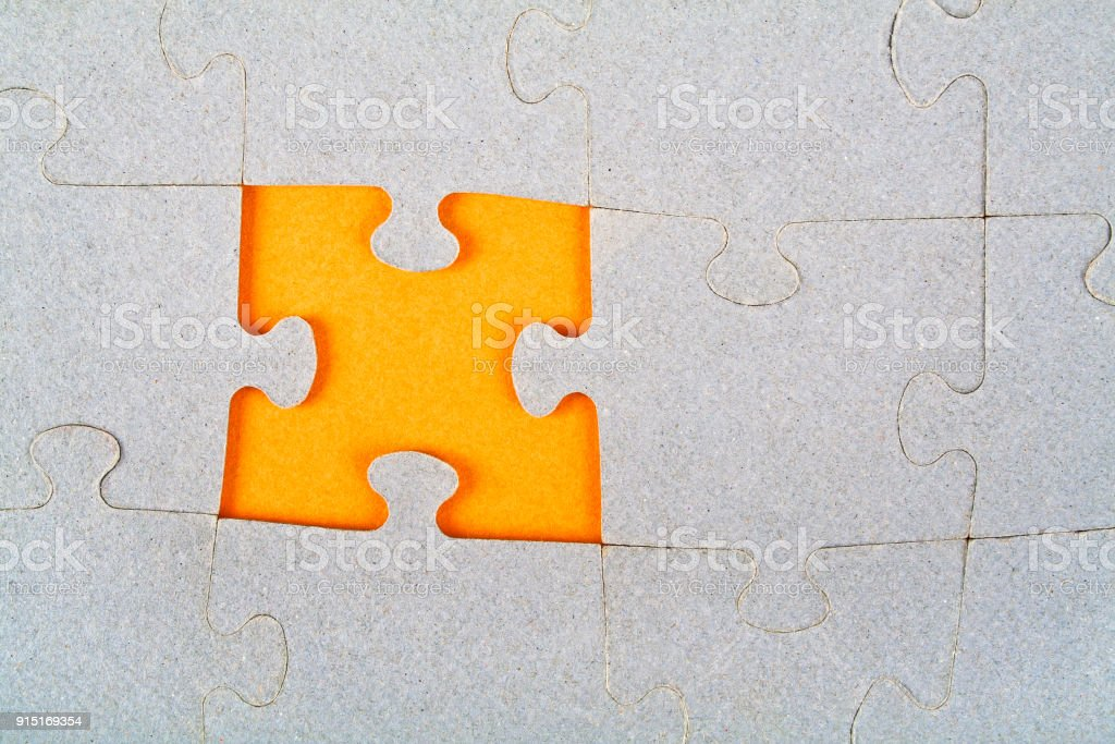 Puzzle with missing piece stock photo