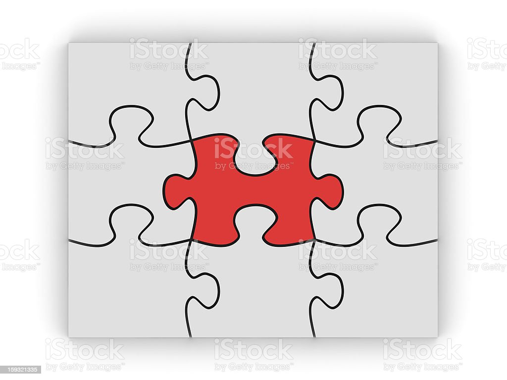 Puzzle with Red Piece on Center royalty-free stock photo