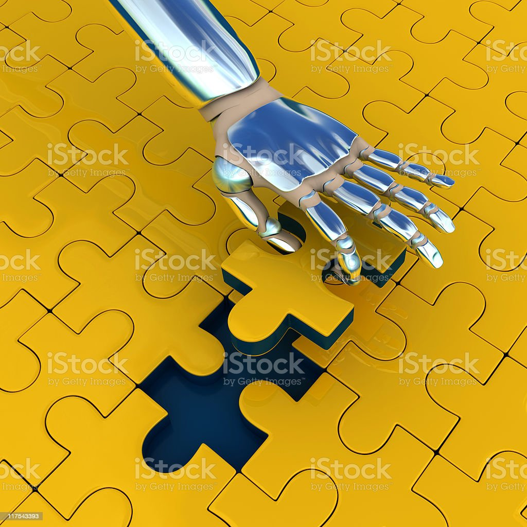 Puzzle with robot hand royalty-free stock photo
