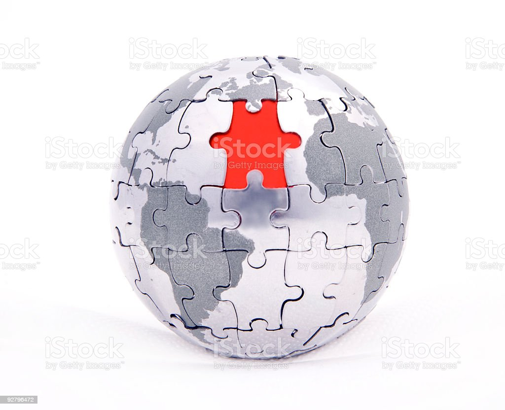 puzzle world stock photo