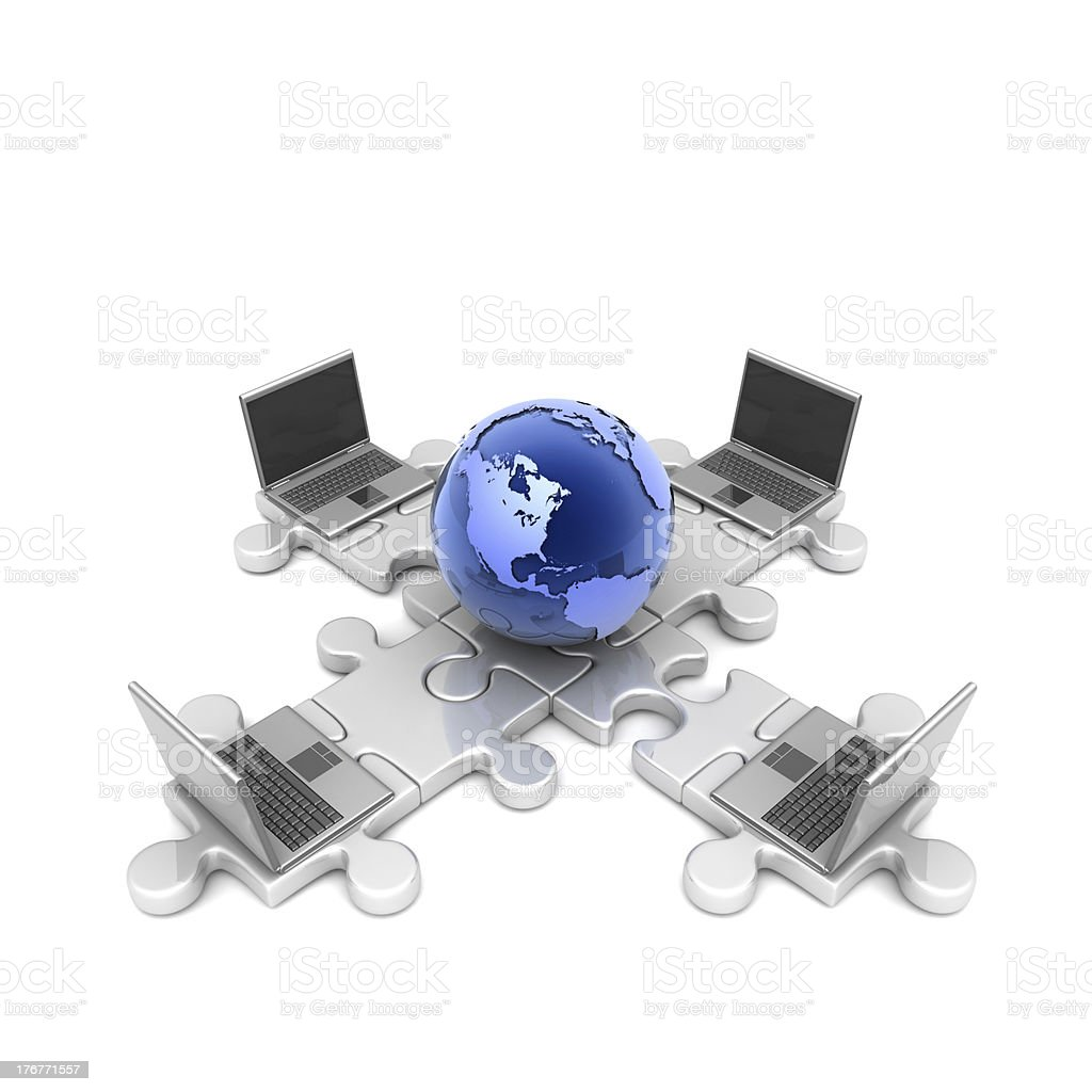 Puzzle_Earth_laptop royalty-free stock photo