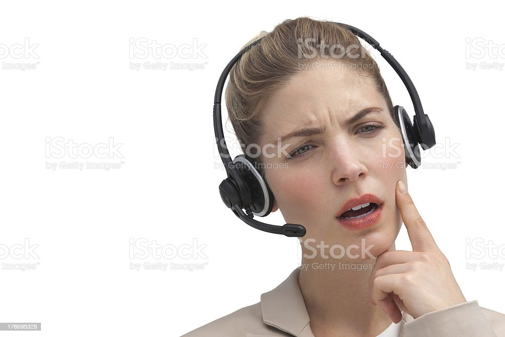 Puzzled call center agent royalty-free stock photo