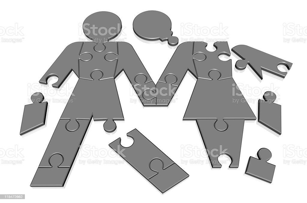 Puzzled jigsaw couple royalty-free stock photo