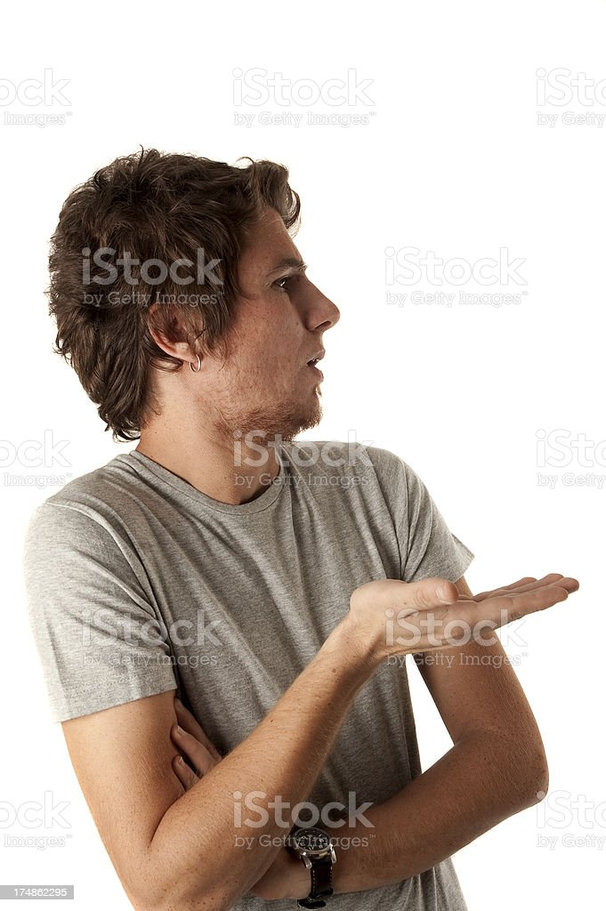 Puzzled male shrugging royalty-free stock photo