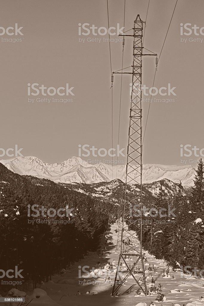 Pylônes - Lignes à haute tension stock photo