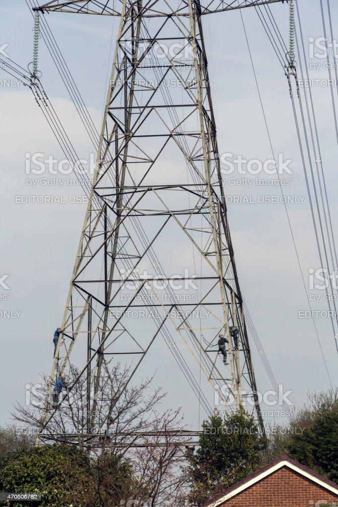 Pylon Maintenance, Cheshire stock photo