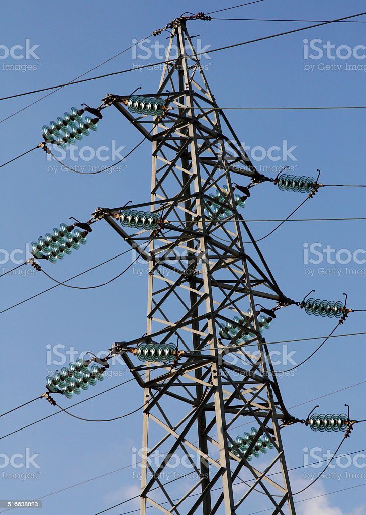 pylon of the high voltage electric cables in power station stock photo