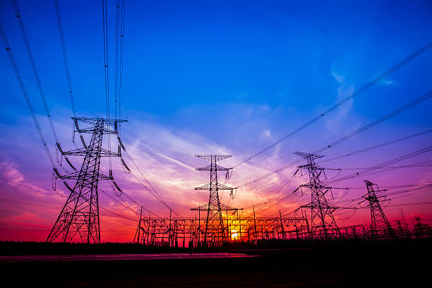 pylon - transmission lines stock photos and pictures
