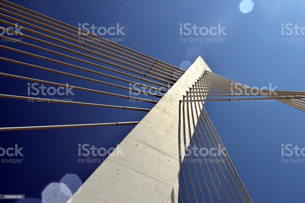 pylon suspension bridge with cables detail stock photo
