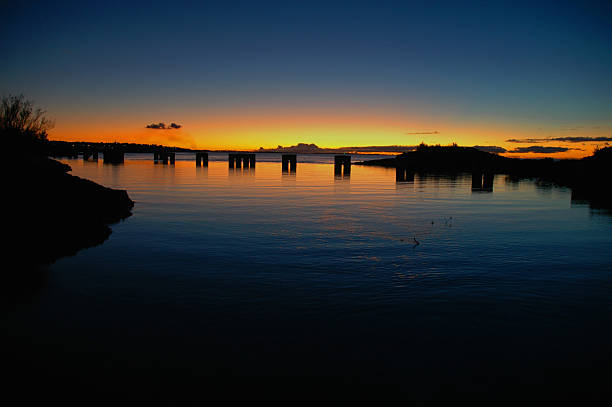 Pylons at sunset stock photo