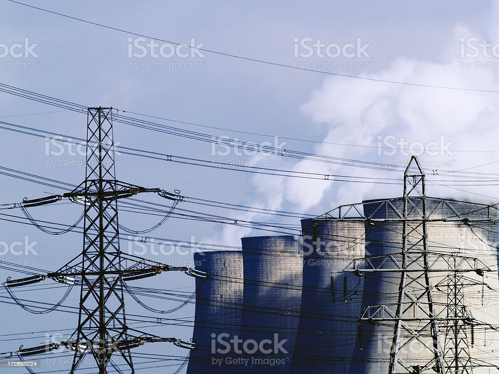 Pylons, cooling towers and plume royalty-free stock photo