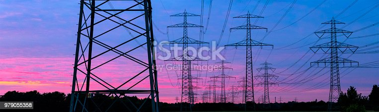 Pylons in the evening sun