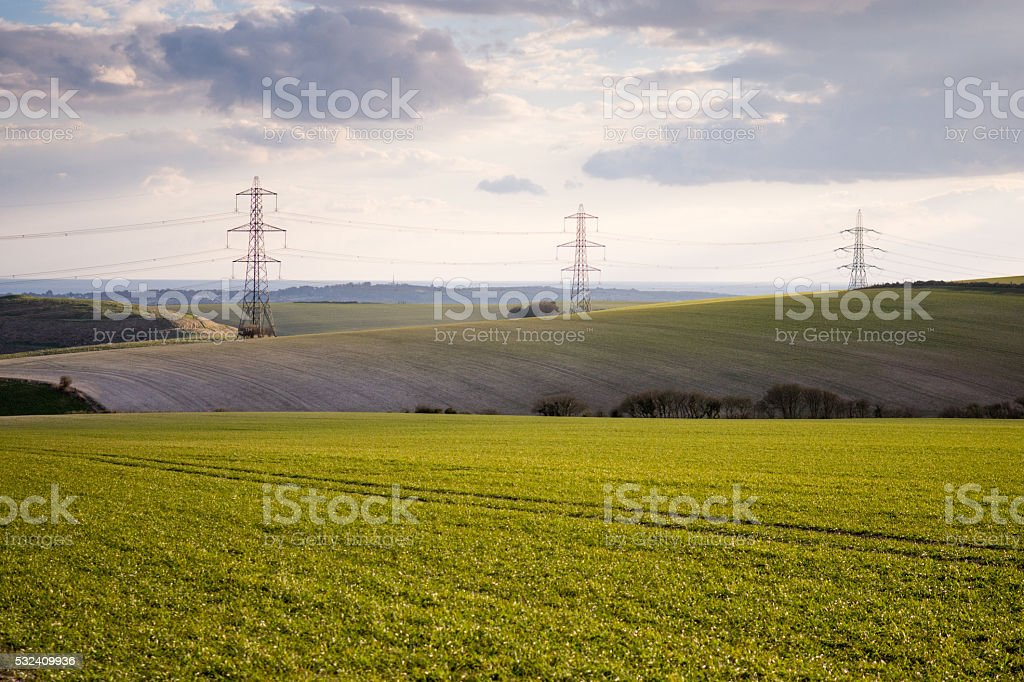 Pylons marching stock photo