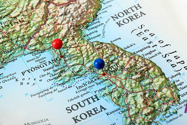 Karte von Pjöngjang und Seoul, Korea – Foto