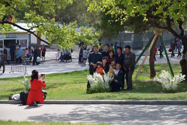 Pyongyang, North Korea. People stock photo