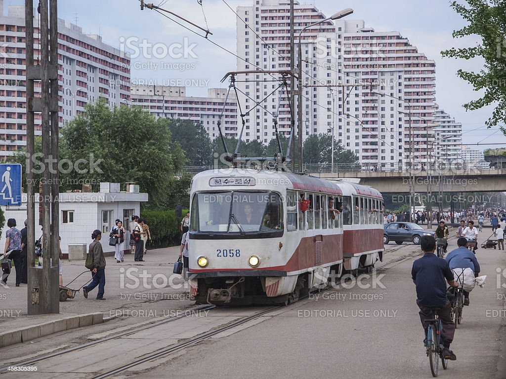 Pyongyang streets and tram royalty-free stock photo
