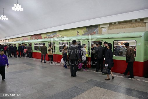 April 15, 2018. Pyongyang, North Korea. North Korea's capital Pyongyang subway consists of 16 stops and a depth of 110 meters. One of the deepest subway lines in the world, North Korea's Pyongyang subway has been built to be used as a refuge during a possible nuclear attack.