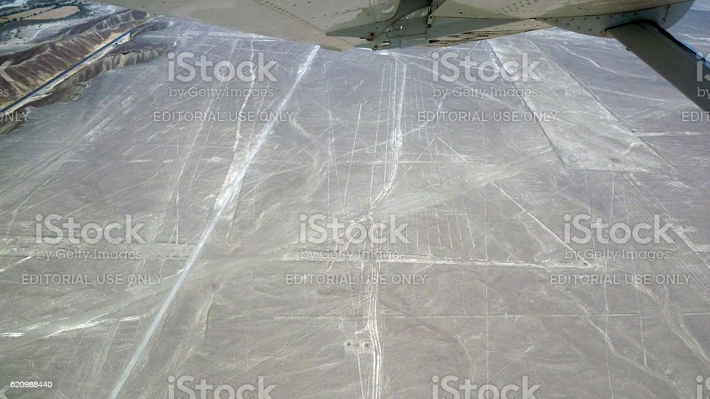 Pyramid and geometric shapes in the Nazca Lines stock photo