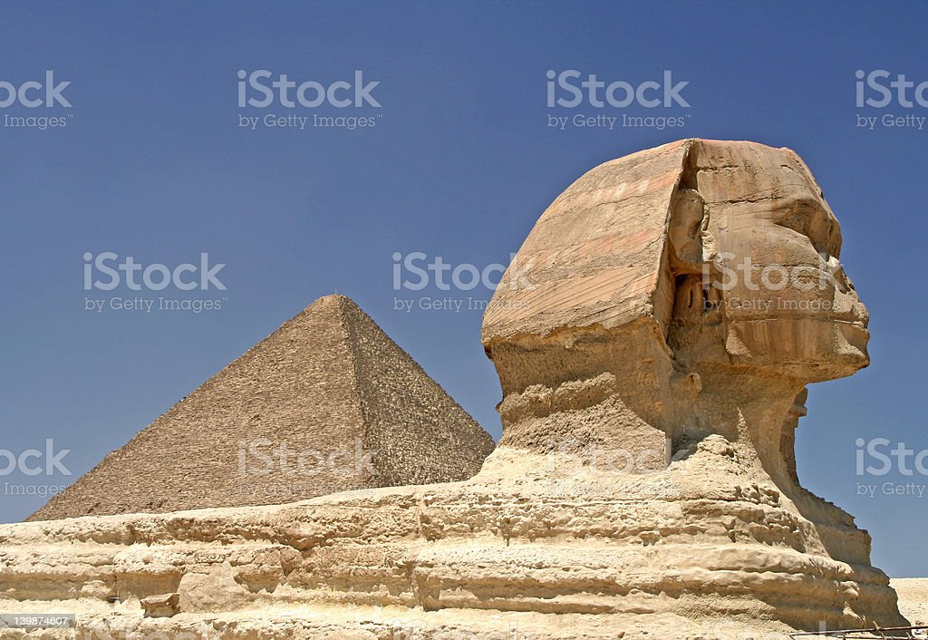Pyramid and Sphinx royalty-free stock photo