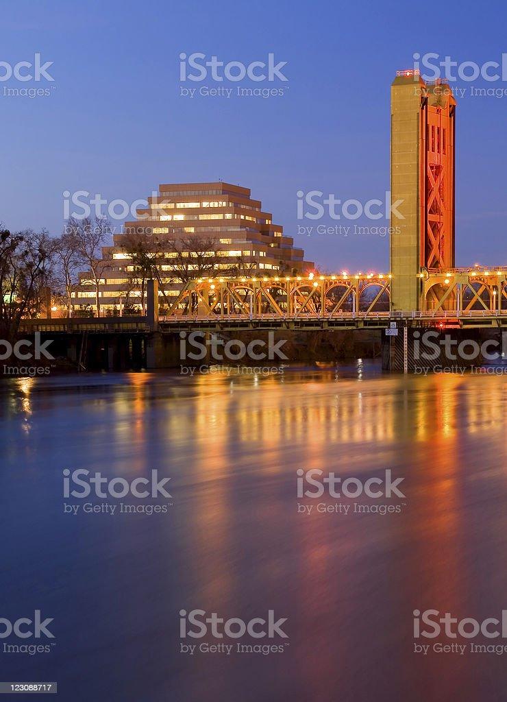 Pyramid and Tower Bridge in Sacramento royalty-free stock photo