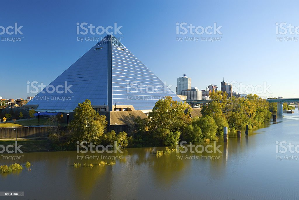 Pyramid Arena and the Memphis, TN city skyline stock photo
