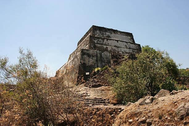 Pyramid built on peak of the Sierra de Tepoztlan, Mexico. stock photo