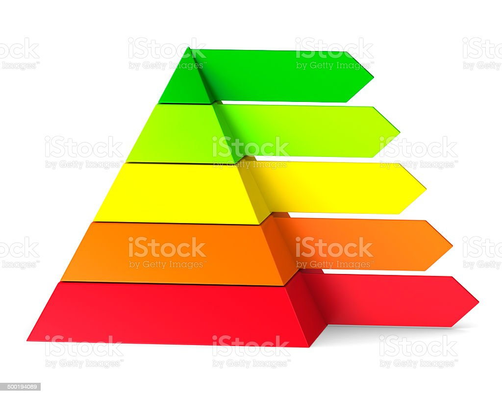 Pyramid chart on white background stock photo