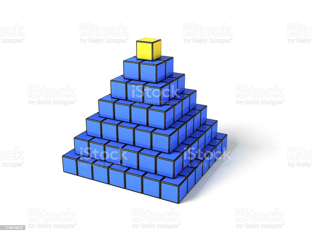 Pyramid from cubes on white background royalty-free stock photo