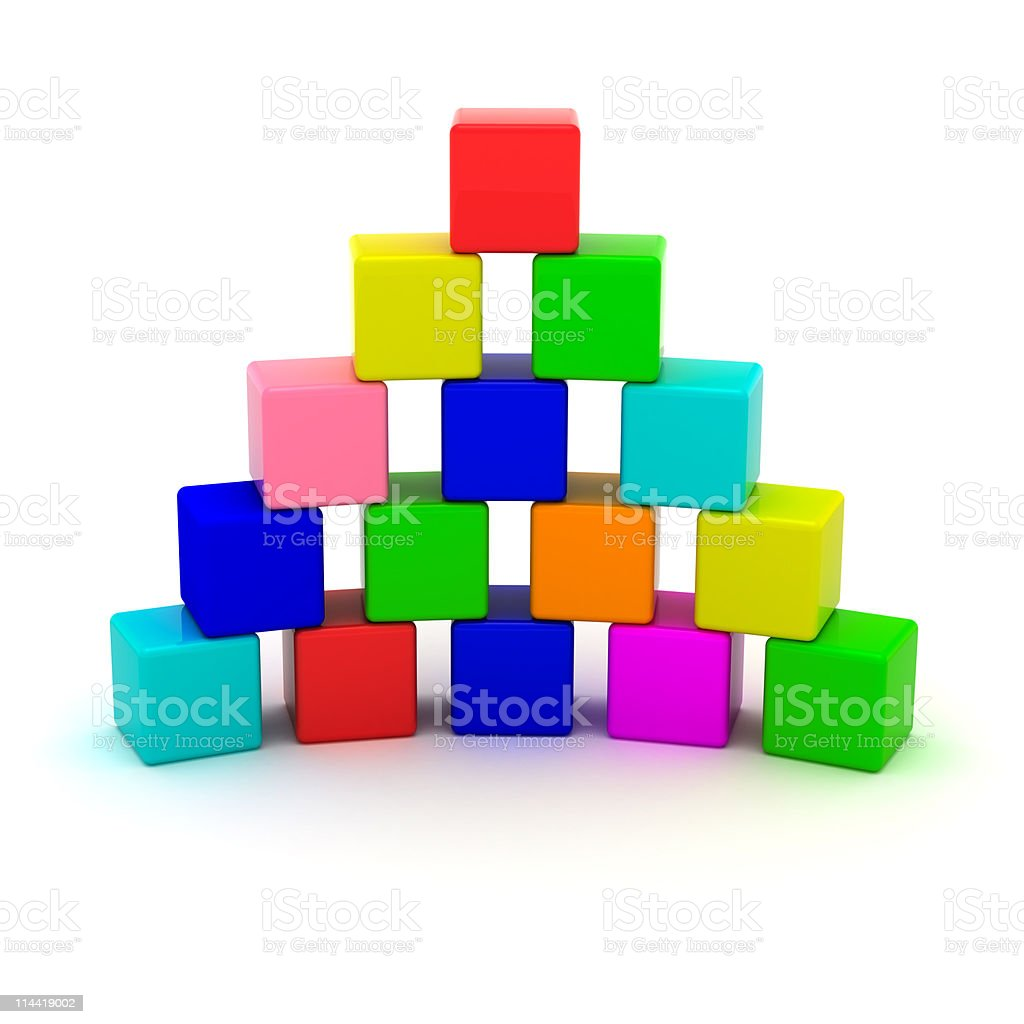 Pyramid from cubes stock photo