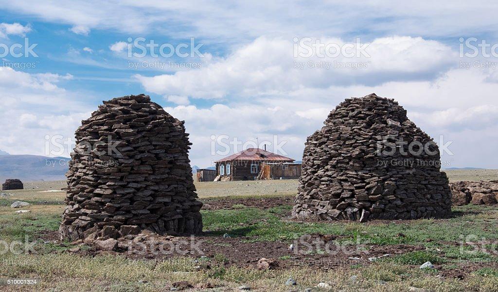 Pyramid from manure stock photo