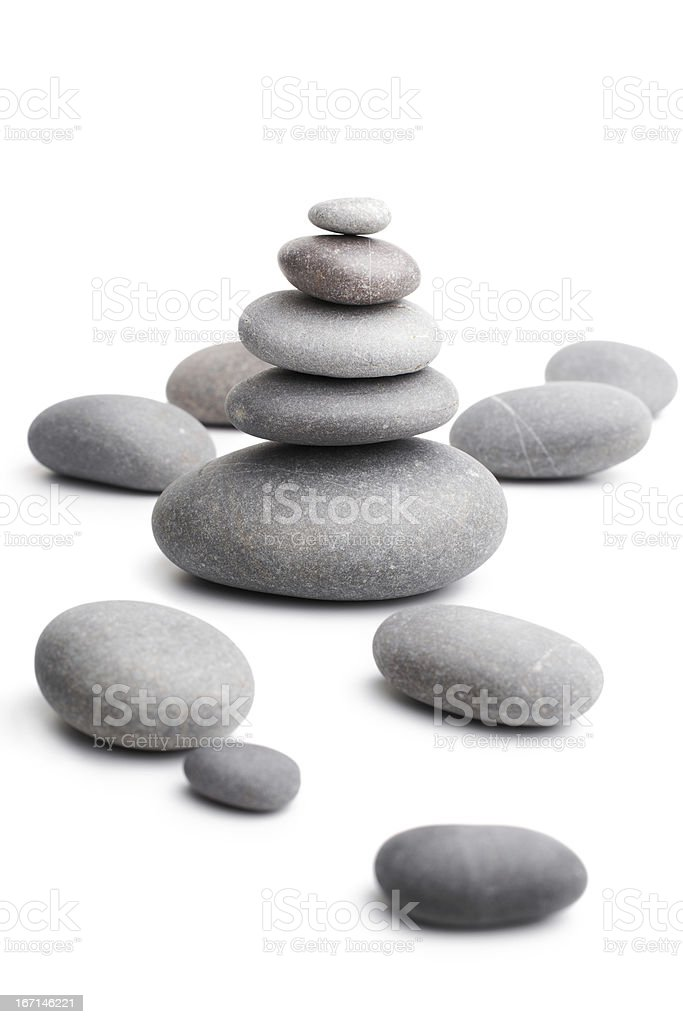 pyramid from sea pebble isolated on white royalty-free stock photo