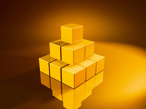 Pyramid Golden Cubes 3D Render of a pyramid made from pixelated golden cubes. Very high resolution available! Use it for Your own composings!Related images: golden cube stock pictures, royalty-free photos & images