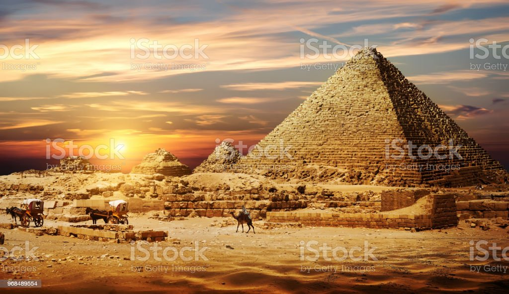 Pyramid in desert stock photo