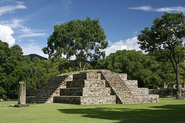 pyramid in precolumbian old city Copan pyramid in precolumbian old city Copan honduras stock pictures, royalty-free photos & images