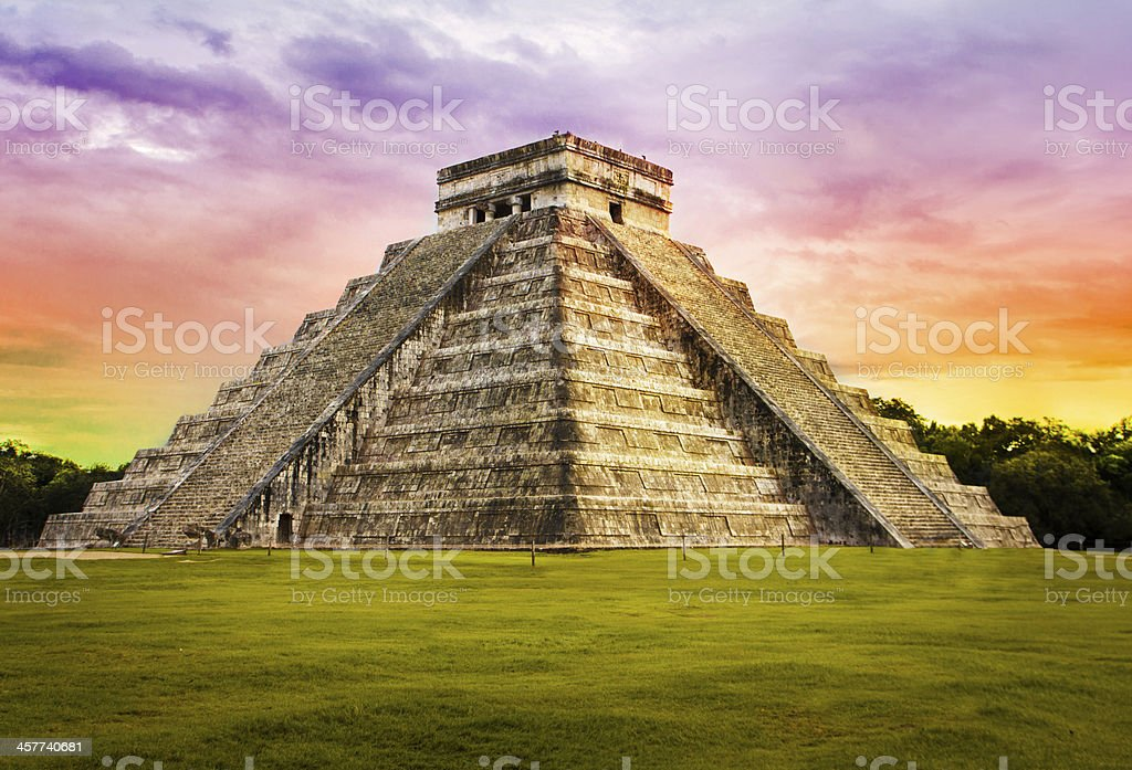 Pyramid Kukulkan temple. Chichen Itza. Mexico. stock photo