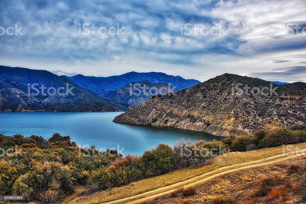 Pyramid Lake In The Mountains stock photo
