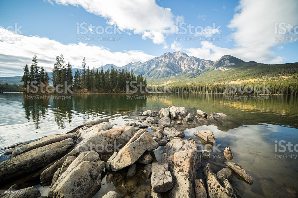 Pyramid lake, Jasper national park, Alberta, Canada. stock photo