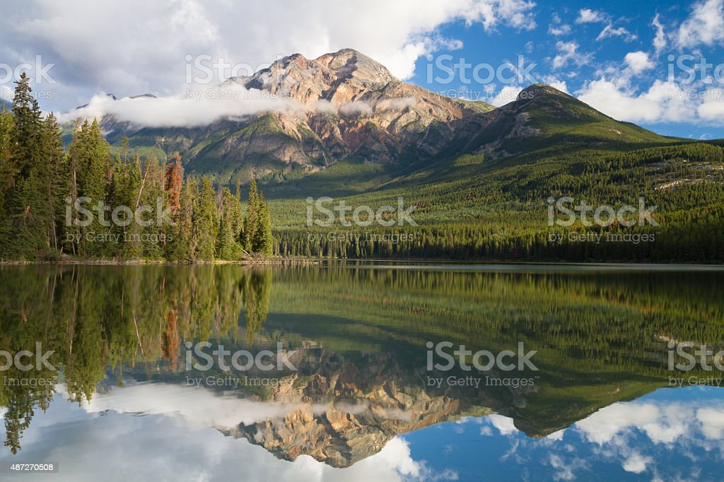Pyramid lake reflections stock photo